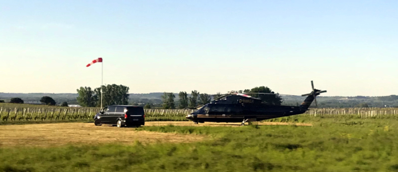 Helicopter at Chateau d'Yquem